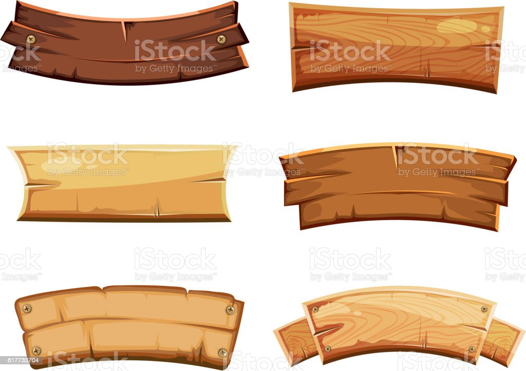 Cartoon Wood Blank Banners And Ribbons Western Signs Vector Set Royalty Free