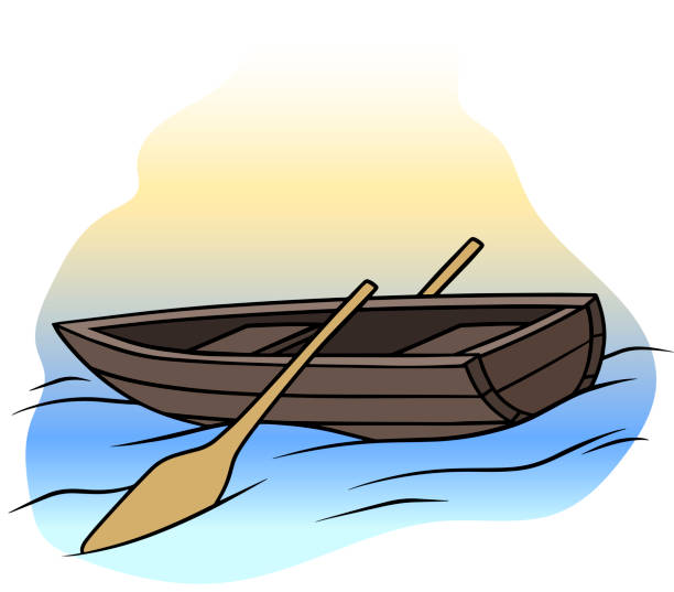 Cartoon wooden brown rowboat with two oars Cartoon wooden brown rowboat with two oars on water. Vector icon. sailing dinghy stock illustrations