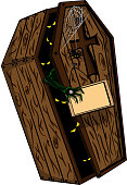 A cartoon wooden coffin for the holiday of the halloween with a zombie hand and a sign on which you can write whatever you want. Vector Illustraion.
