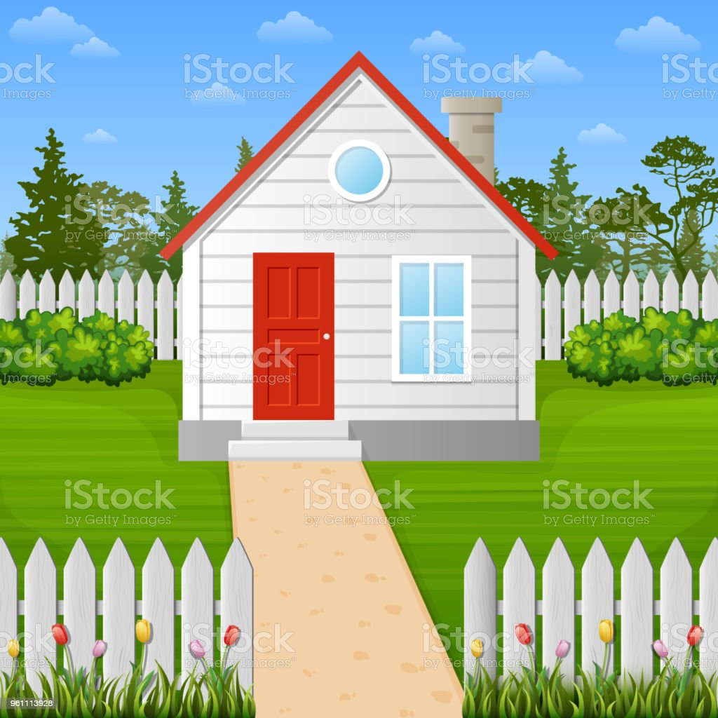 Cartoon wooden house inside the fence royalty free cartoon wooden house inside the fence stock