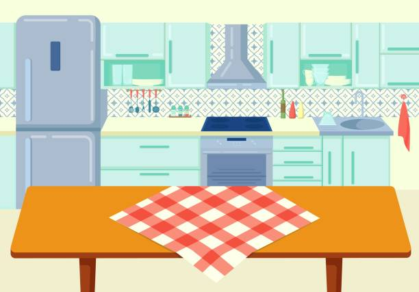 Cartoon wooden kitchen table with tablecloth at cuisine background vector illustration