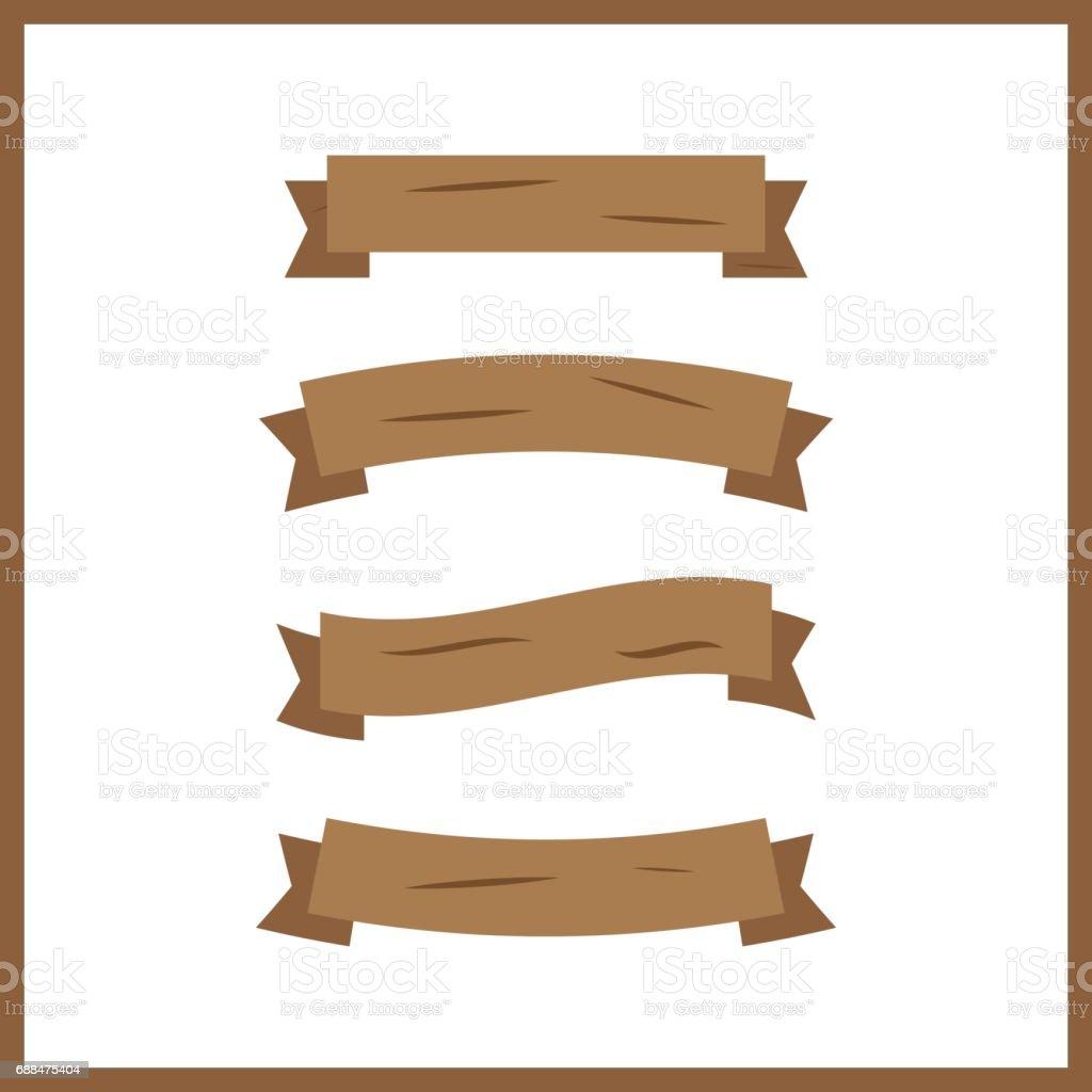 Cartoon Wooden Plank. Wood Banner Vector Elements Royalty Free Cartoon  Wooden Plank Wood Banner