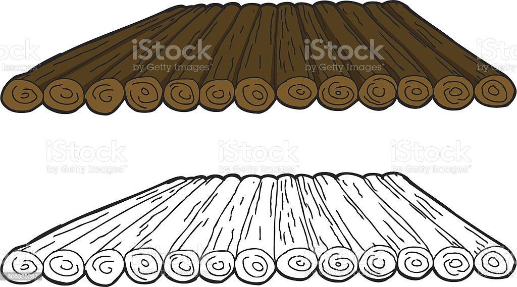 Cartoon Wooden Raft vector art illustration