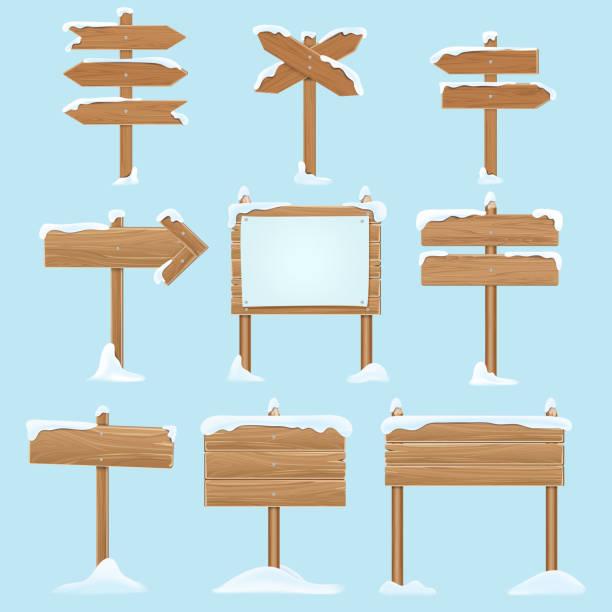 illustrazioni stock, clip art, cartoni animati e icone di tendenza di cartoon wooden signs with snow. christmas winter holidays vector elements - tavola natale