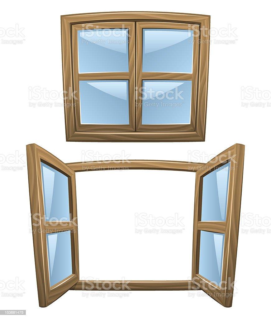 Cartoon wooden windows vector art illustration