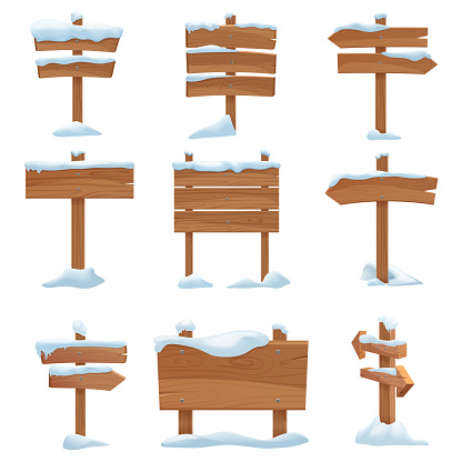 Cartoon wooden winter signs with snow caps set vector illustration.