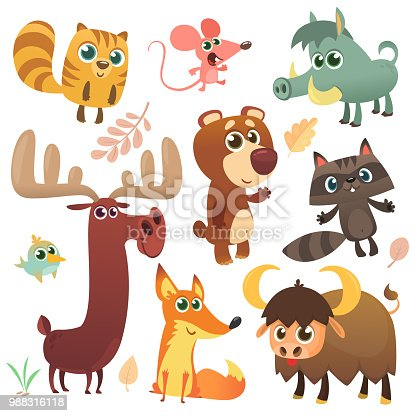 Cartoon woodland animals set. Vector illustrated. Squirrel, mouse, raccoon, boar, fox, buffalo, bear, moose, bird. Isolated. Design for children book, decoration, sticker, print, package