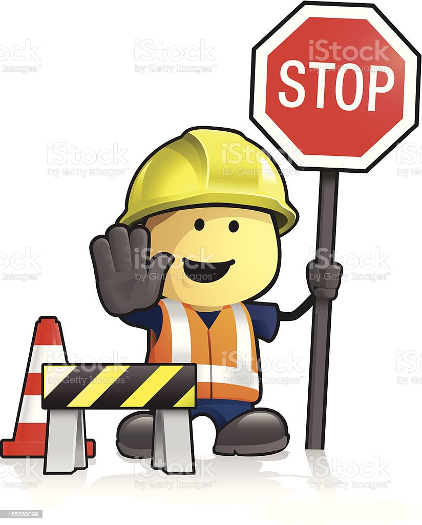 Cartoon Worker And Stop Sign Stock Illustration - Download ...