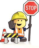 Cute cartoon road worker holding stop sign. Also in the scene is a barrier and traffic cone. All individually grouped and layered for easy editing. Download includes EPS file and hi-res jpeg.