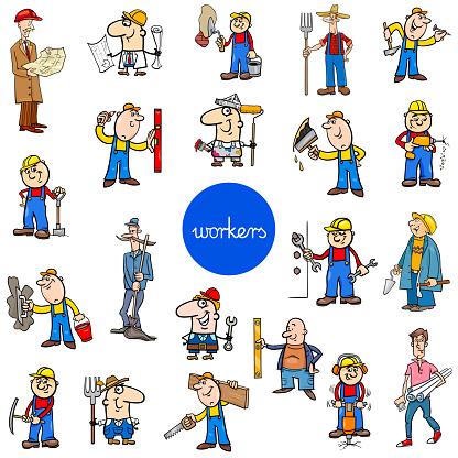 cartoon workers characters big set