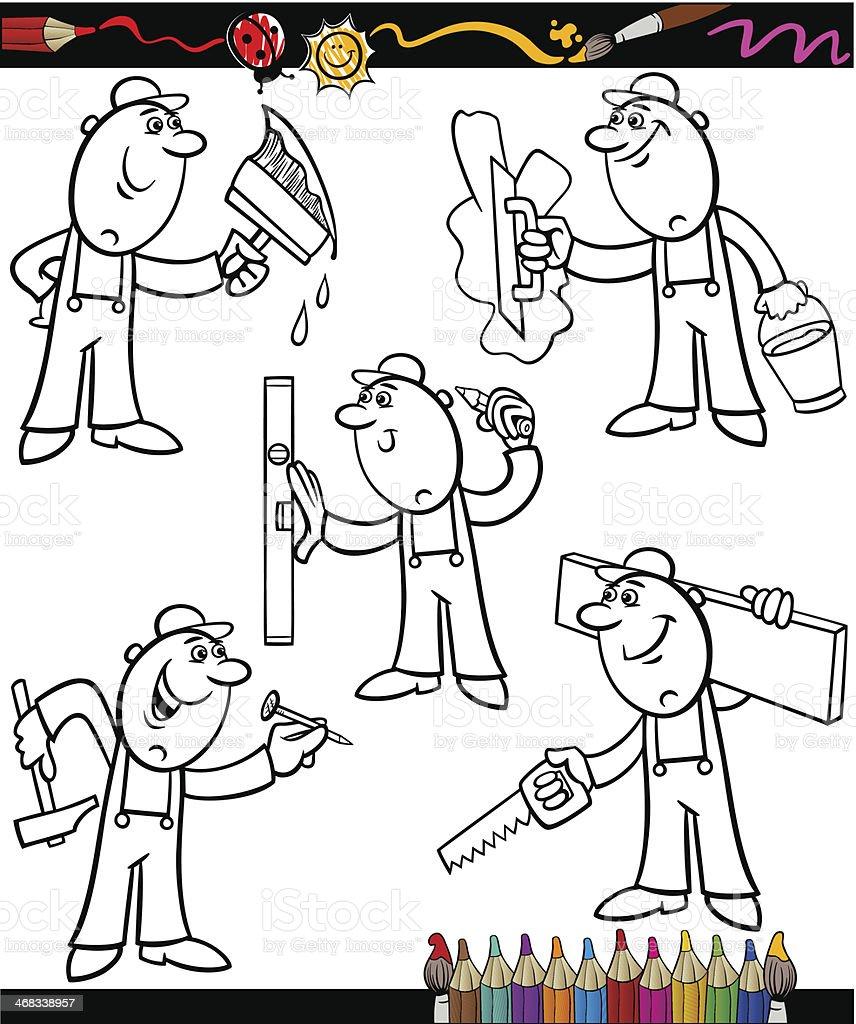 Ilustración De Conjunto De Los Trabajadores De Historieta Libro Para