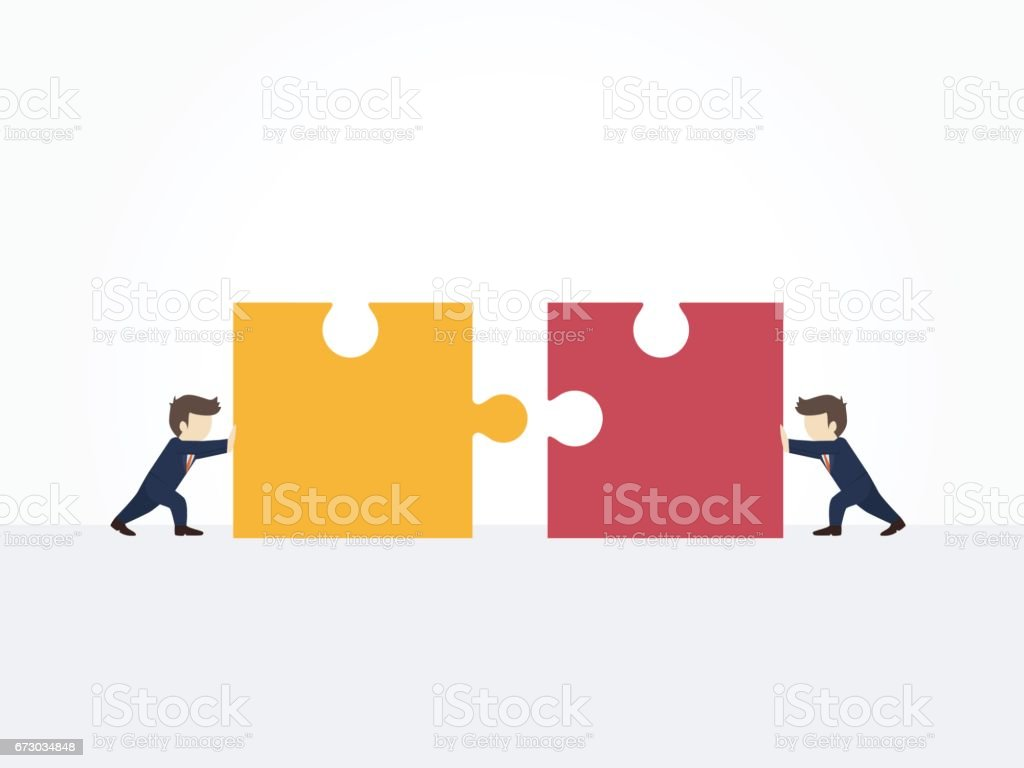 Cartoon working little people pushing huge pieces of one puzzle towards each other. Vector illustration for business design and infographic. vector art illustration