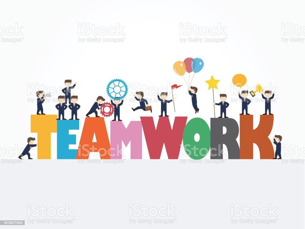 Cartoon Working Little People With Big Word Teamwork