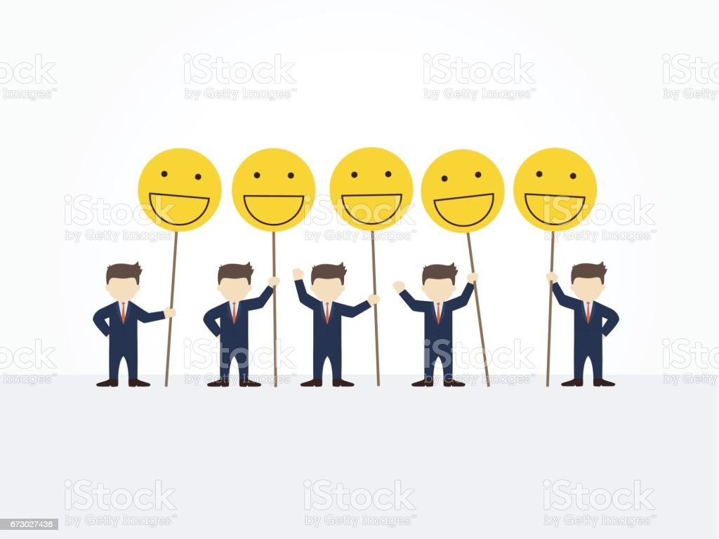 cartoon working little people with smile signs vector illustration