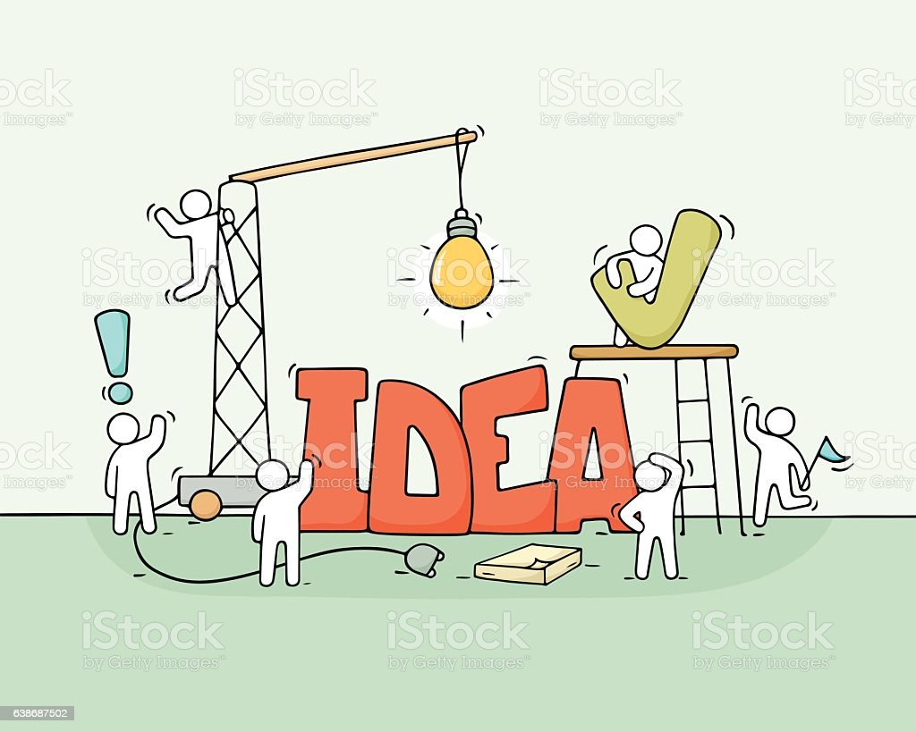 Cartoon working little people with word Idea. vector art illustration
