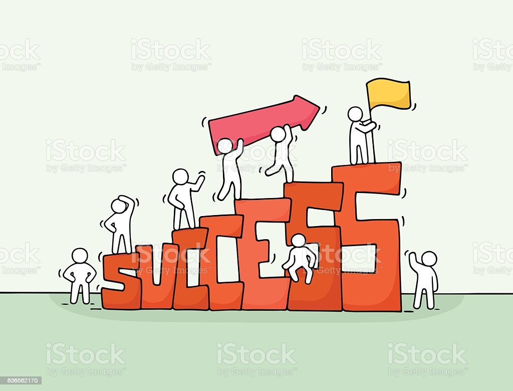 cartoon working little people with word success stock illustration download image now istock https www istockphoto com vector cartoon working little people with word success gm636562170 112996273