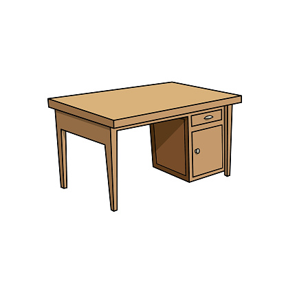 Cartoon working table pictures for kids which is a vector illustration for preschool and home training for parents and teachers.