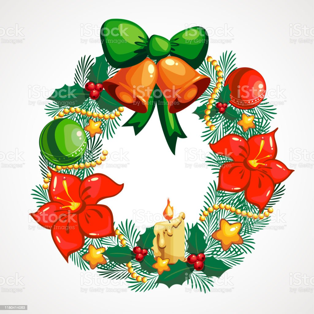 Cartoon wreath Christmas decoration. Vector illustration.