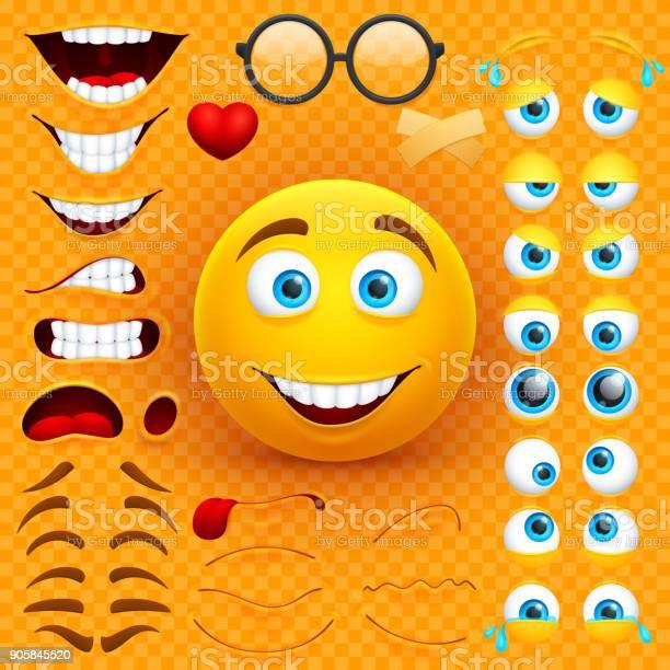 Cartoon yellow 3d smiley face vector character creation constructor vector id905845520?b=1&k=6&m=905845520&s=612x612&h=qvswdx7jb7k9k phigibps789iao04d1e6 whbn66pg=