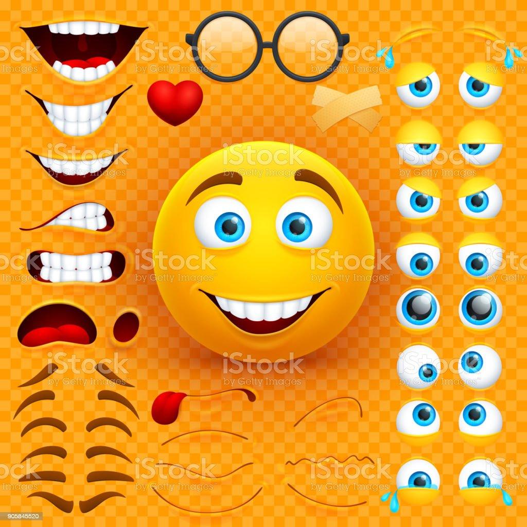 Sarı çizgi film 3d gülen yüz vektör karakter oluşturma Oluşturucu. Emoji duygular, gözler ve mouthes ayarla vektör sanat illüstrasyonu
