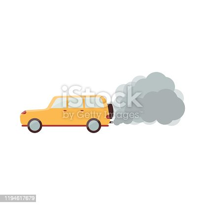 Cartoon yellow car with grey smoke coming out of exhaust pipe - air pollution from carbon emission. Isolated flat vector illustration on white background.