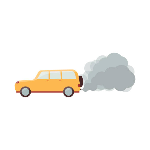 ilustraciones, imágenes clip art, dibujos animados e iconos de stock de coche amarillo de dibujos animados con humo gris que sale del tubo de escape - contaminación ambiental