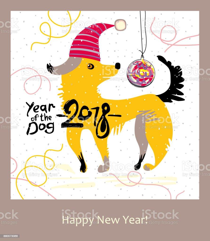 Cartoon Yellow Dog. Happy New Year Greeting Card. Royalty Free Cartoon  Yellow Dog