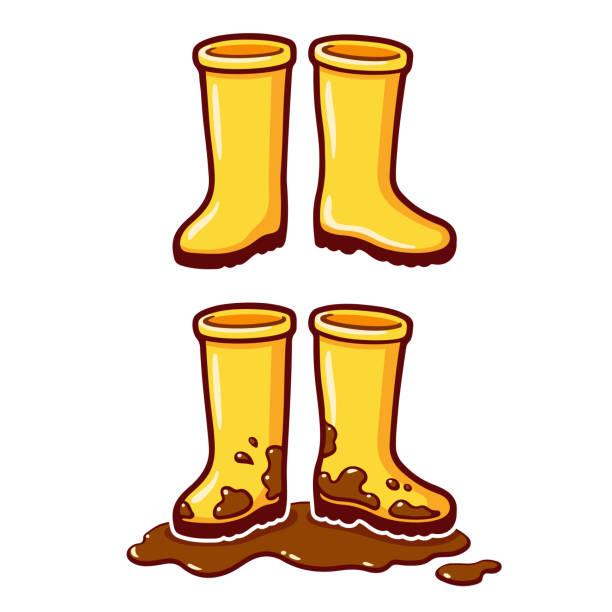 cartoon yellow rain boots - boot stock illustrations