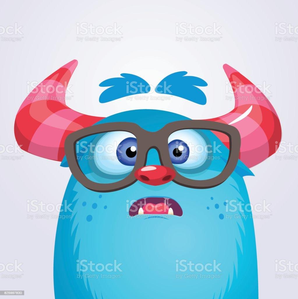 Cartoon yeti monster wearing glasses. Vector illustration of bigfoot sasquatch vector art illustration