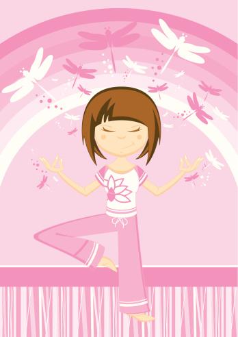 Cartoon Yoga Girl & Dragonflies