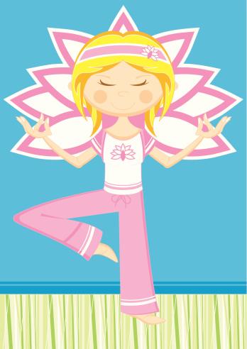 Cartoon Yoga Girl Meditating
