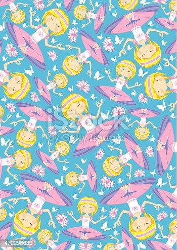 Cartoon Yoga Girl with Butterflies Pattern