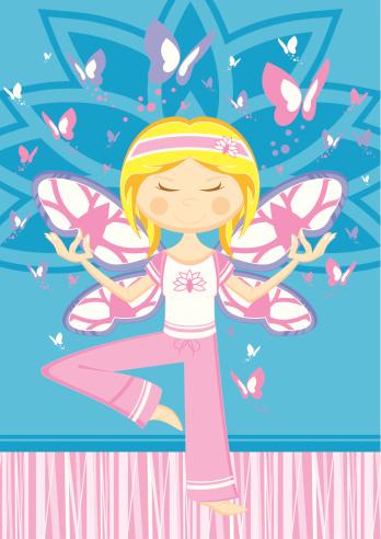 Cartoon Yoga Girl with Butterflies