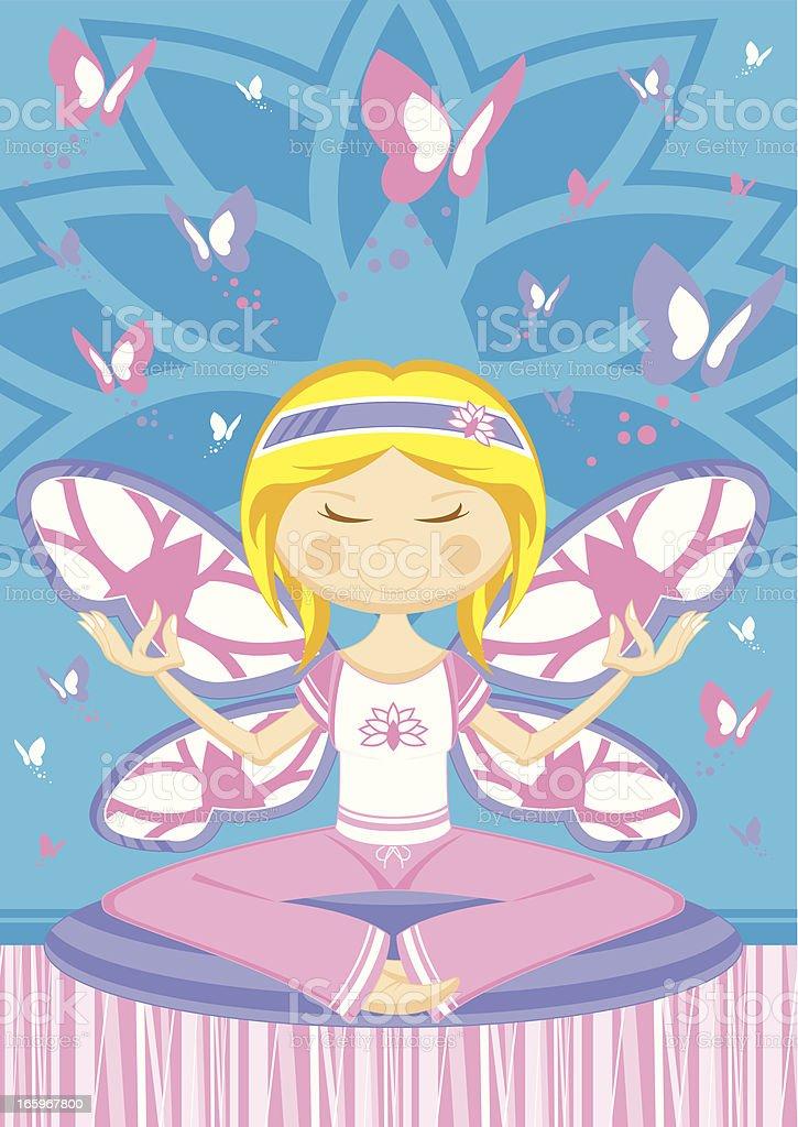 Cartoon Yoga Girl with Butterflies royalty-free stock vector art