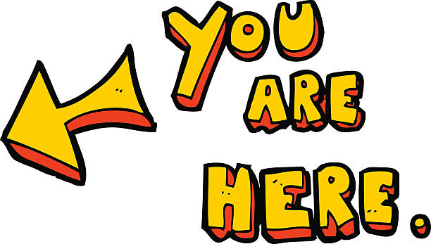cartoon you are here sign vector art illustration