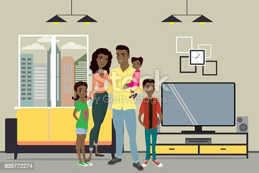 istock Cartoon young african american family and interior design with f 835772274