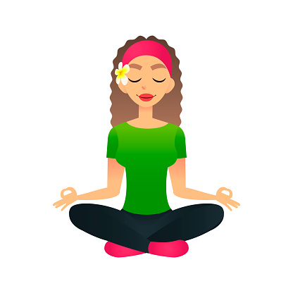 cartoon young beautiful girl practicing yoga in a lotus