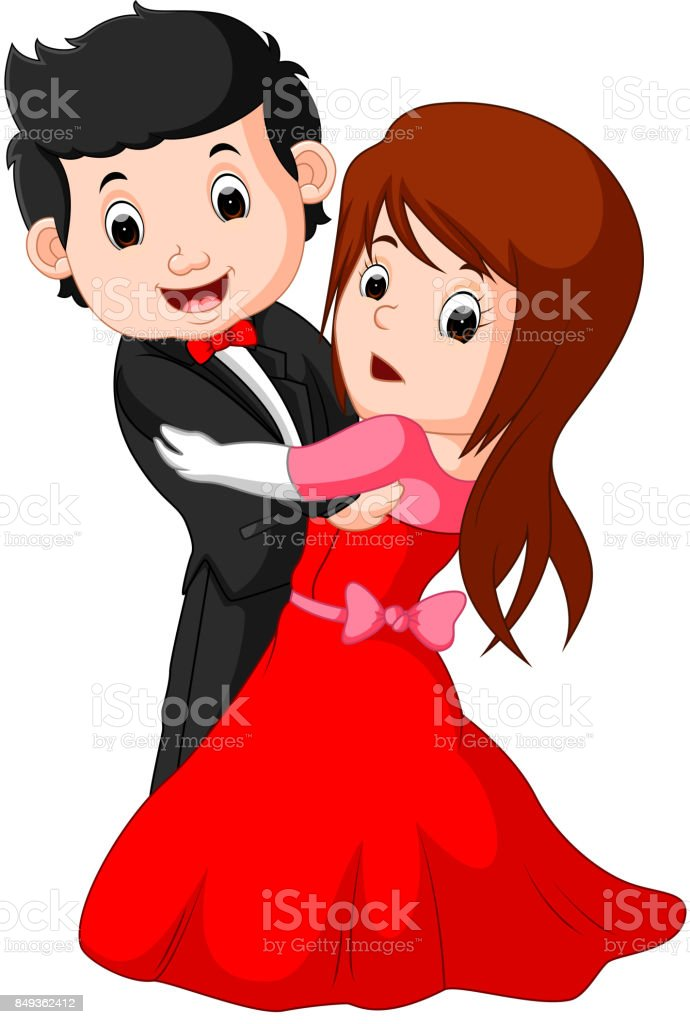 Cartoon Young Boy And Girl Dancing Royalty Free Stock