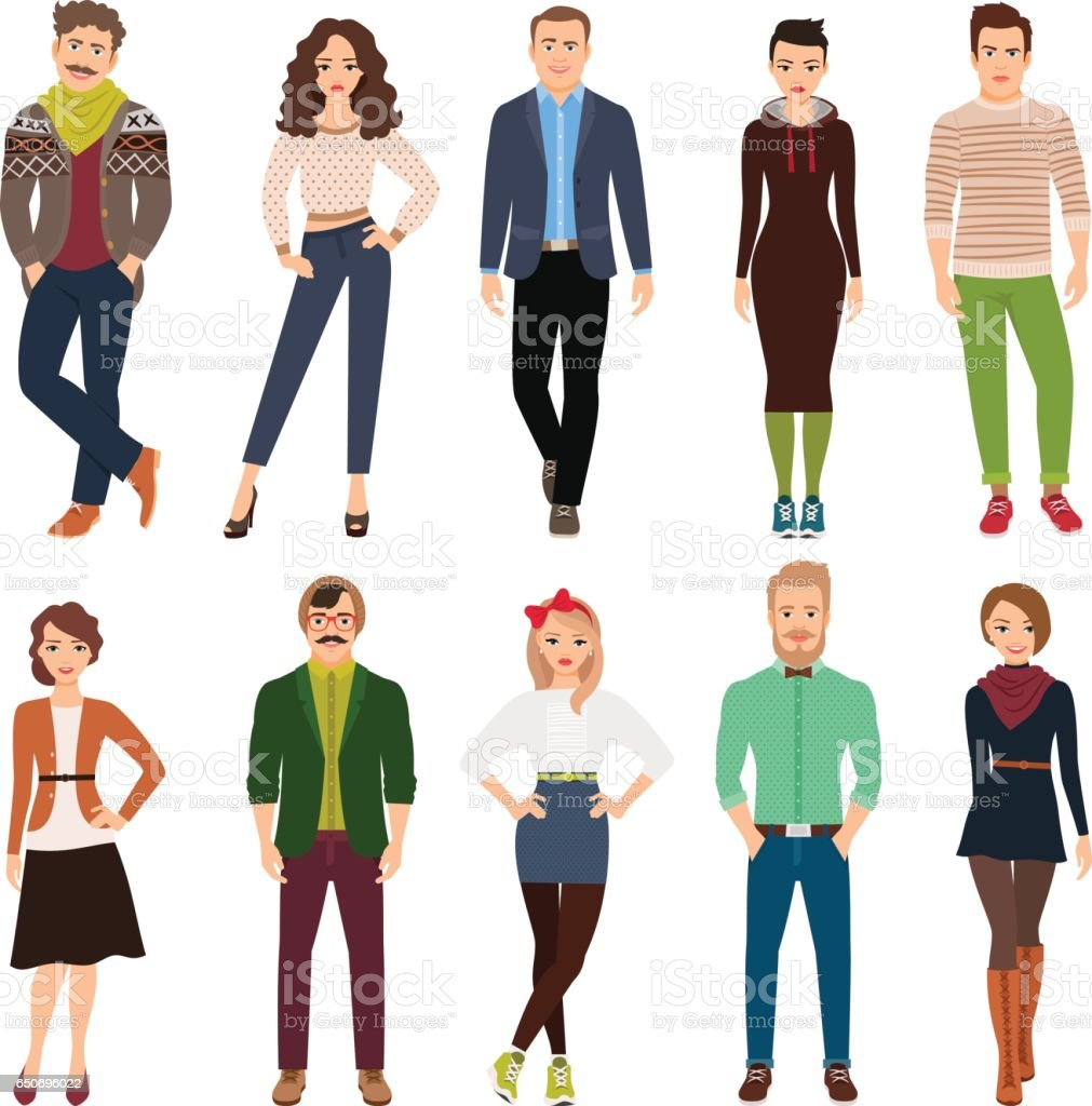 Cartoon young fashion people vector art illustration