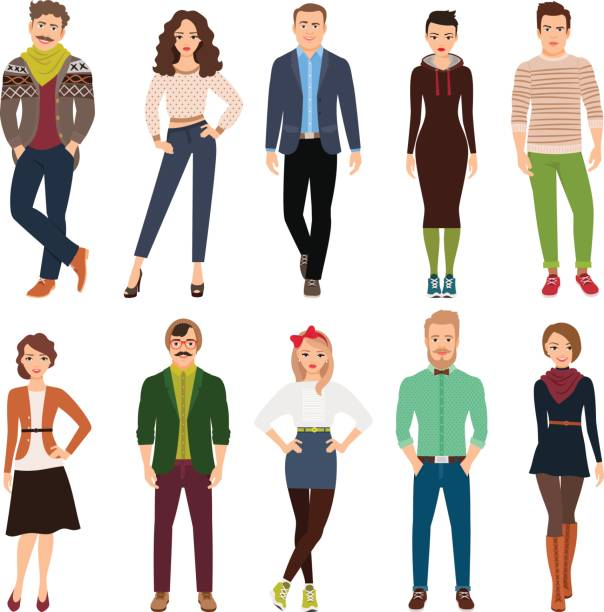 cartoon young fashion people - hipster fashion stock illustrations, clip art, cartoons, & icons