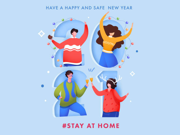 Cartoon Young Man And Woman Celebrating New Year Party On Paper Cut 2021 Number Background For Avoid Coronavirus, Stay At Home. vector art illustration