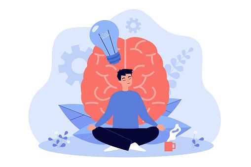 Cartoon young man practicing meditation flat vector illustration