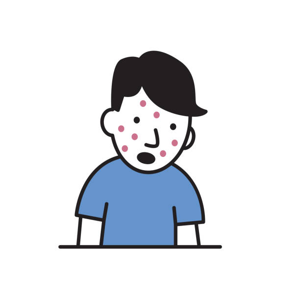 Cartoon young man with red spots on his face. Cartoon design icon. Flat vector illustration. Isolated on white background. vector art illustration