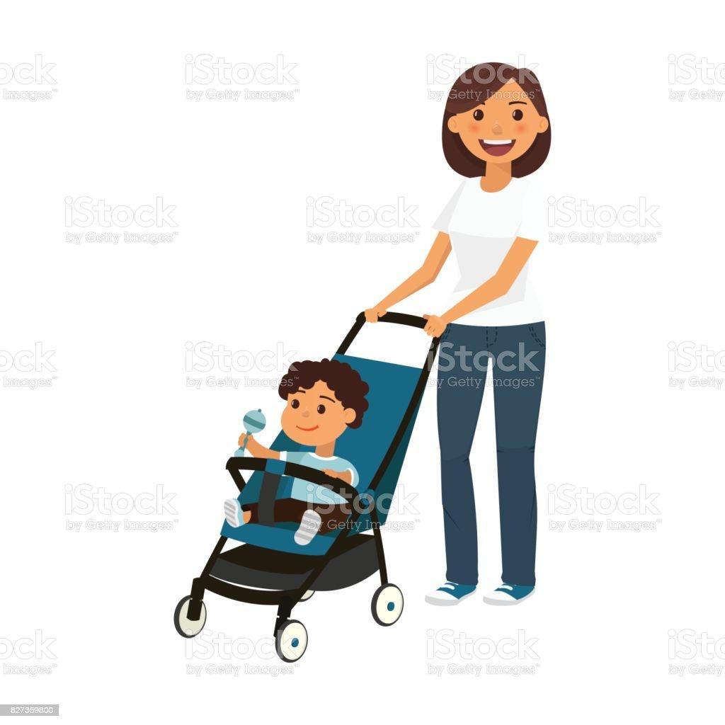 Jeune maman avec enfant dans la poussette de dessin anim - Poussette dessin ...