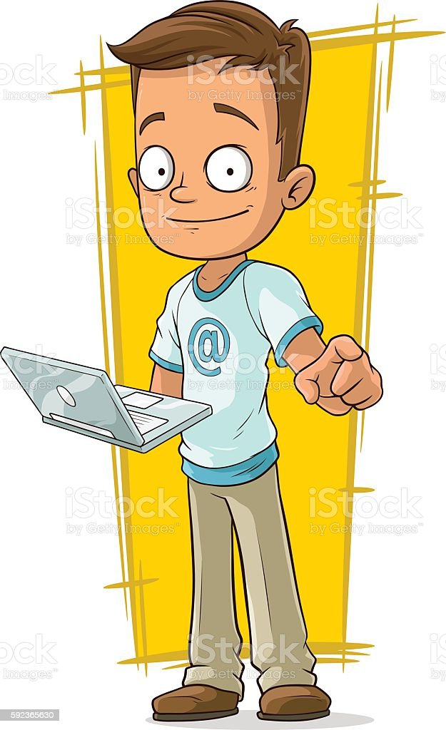 A vector illustration of cartoon young programmer with laptop