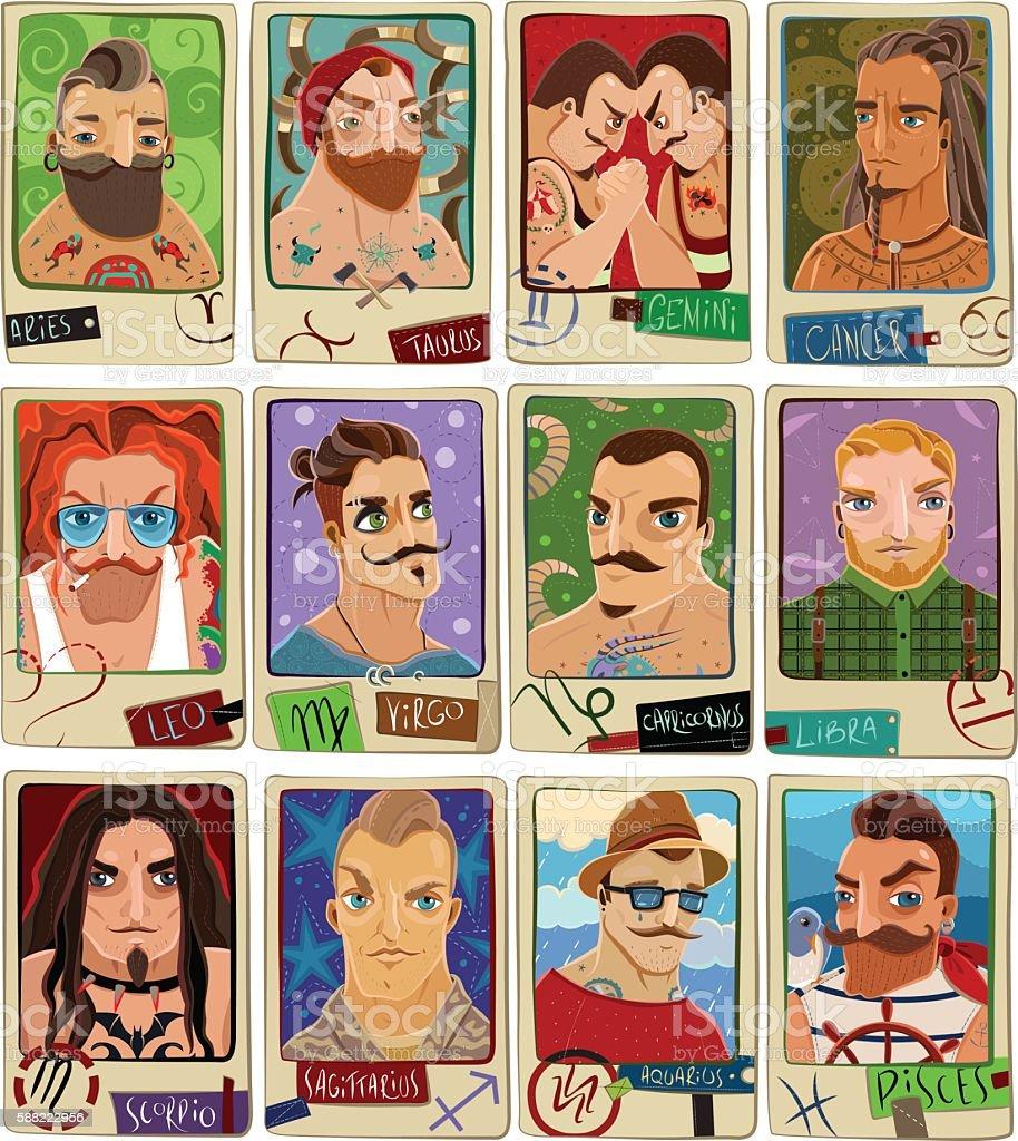 Cartoon Zodiac Men Stock Illustration - Download Image Now