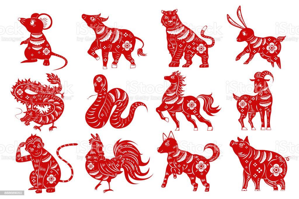 Cartoon-Tierkreis-silhouette – Vektorgrafik