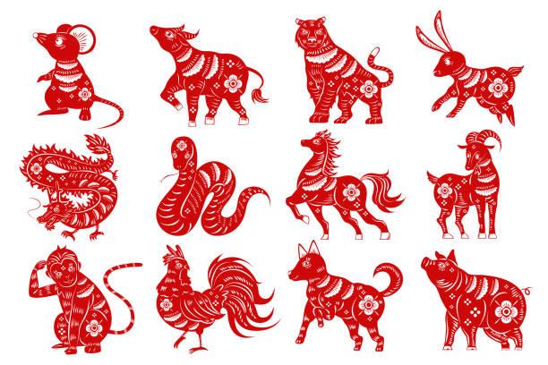 ilustraciones, imágenes clip art, dibujos animados e iconos de stock de silueta de zodiaco dibujos animados - calendario de animales
