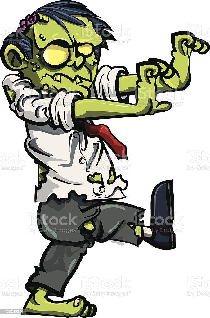 Cartoon zombie businessman vector art illustration