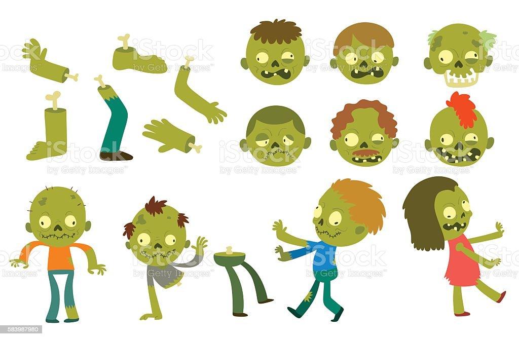 Cartoon zombie characters vector art illustration